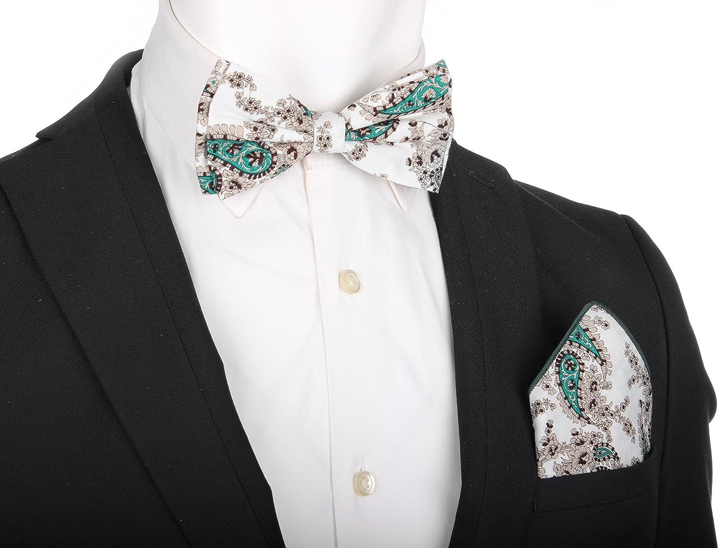 Enimay Men's Pre-Tied Adjustable Bow Tie Pocket Square Cufflinks Set