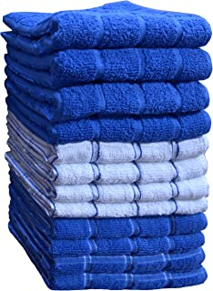 """HomeLabels Kitchen Towels (12 Pack, 15"""" x 25"""") Cotton, Machine Washable Extra Soft Set of 12, 3 Designs Dobby Weave Kitche..."""