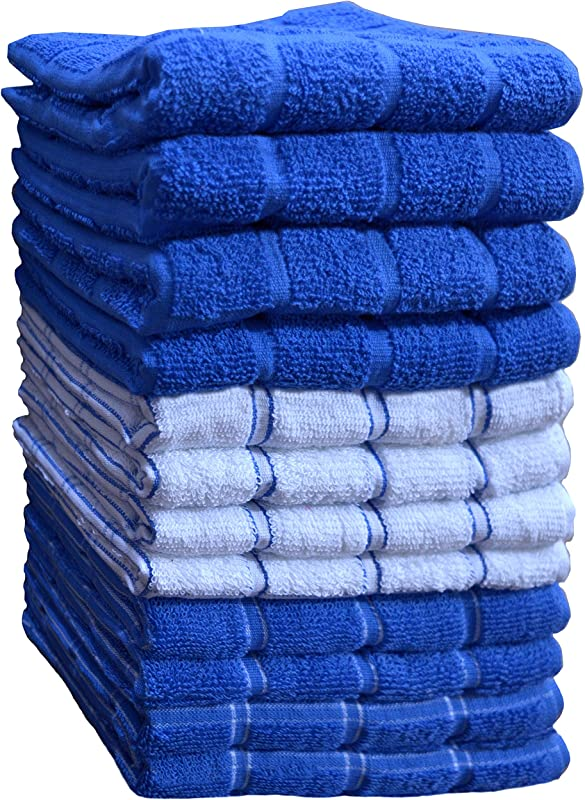 Kitchen Towels 12 Pack 15X25 Inch 100 Premium Cotton Machine Washable Extra Soft Set Of 12 3 Designs Dobby Weave Kitchen Dish Cloths Tea Towels Bar Towels Blue By HomeLabels