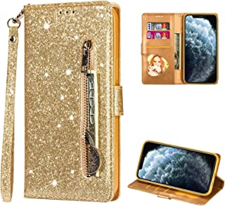 "Cestor Glitter Zipper Wallet Case for iPhone 12 Mini 5.4"",Elegant Slim Fit Sparkly Bling Soft TPU with Card Slot Wrist Str..."
