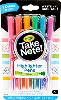 Crayola Take Note Highlighters and Dual Tip Pens, Assorted Colors, School Supplies, at Home Crafts for Kids, 6 Count, Pack...