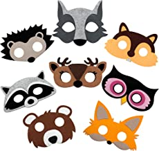 Woodland Animal Masks for Kids Party - 8 Felt Masks, Great for Forest Themed Birthday Parties, Novelty Dress-up and Halloween