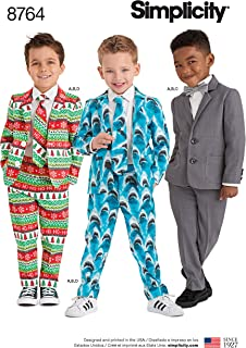 Simplicity 8764 Boy's Suit Sewing Pattern, 4 Pieces, Sizes 3-8