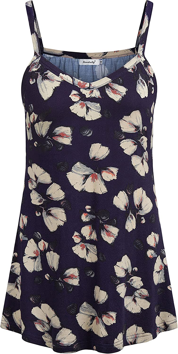 Ninedaily Women's Summer Tank Top Camisole Loose Casual Floral Flowy Tunic Shirt