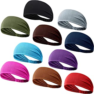 DASUTA Set of 10 Women's Yoga Sport Athletic Workout Headband for Running Sports Travel Fitness Elastic Wicking Non Slip Lightweight Multi Style Bandana Headbands Headscarf fits All Men & Women