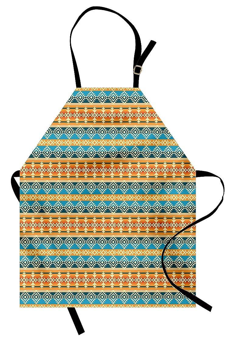 Lunarable Tribal Apron, Ethnic Geometric Pattern Primitive Culture Inspirations Ornate Illustration, Unisex Kitchen Bib Apron with Adjustable Neck for Cooking Baking Gardening, Blue Marigold Cream