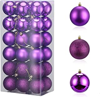 Christmas Ornaments Purple Plastic Ornaments Seasonal Décor Home Kitchen