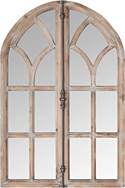 """Stone & Beam Vintage Farmhouse Wooden Arched Multipanel Mantel Mirror, 36""""H, Dark Stain"""