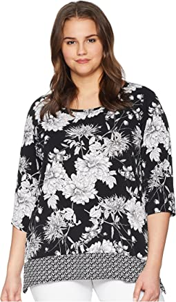 Plus Size Contrast Hem Handkerchief Top