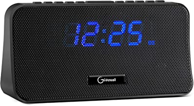 Alarm Clock Radio for Bedroom with AM/FM/WB Weather Alert Radio, Wireless Bluetooth Speaker, Aux/TF Card Player, Alarm Clock with Dual Big Bass Speaker, Dimmer, Snooze and Sleep Timer.