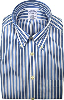 Brooks Brothers Men's Regent Fit The Original Polo Button Down Shirt Blue and White Striped