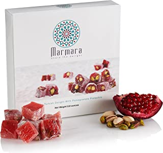 Best Turkish Delights with Pomegranate Pistachio Authentic Hand Made Gourmet Sweet Candy Box Dessert 8.8 ounce 12-16 Large 2 inch Confectionery Treats by Marmara Review