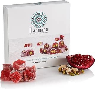 Turkish Delights Candy Pomegranate Pistachio Marmara Lokum Gourmet Gift Box Dessert 8.8 Oz