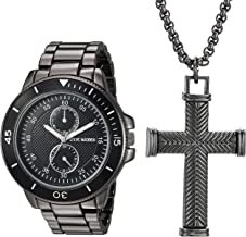 Steve Madden Men's Multifunctional Watch with Cross Pendant Necklace Set SMWS034