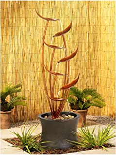 "John Timberland Tiered Copper Leaves Rustic Modern Outdoor Floor Water Fountain 41"" High Cascading for Yard Garden Patio Deck Home"