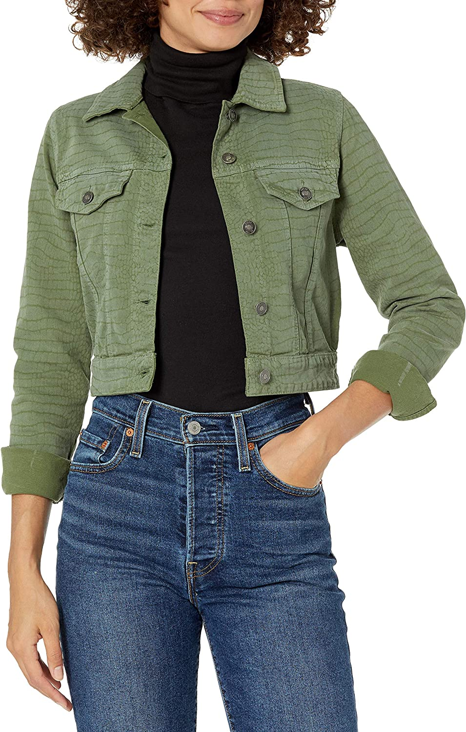 GUESS Women's Long Sleeve Printed Reptile Cropped Denim Jacket