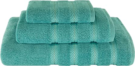 American Soft Linen Bathroom Towel Set, Bath Sheets for Maximum Softness, Cotton, Turquoise Blue, 3-Piece Towel Set