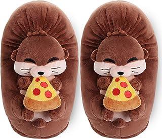 corimori - Murphy la lontra Murphy, Pantofole di Peluche per Bambini e Adulti, Taglia Unica EU da 34 a 44 (Marrone)