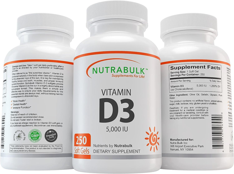 NutraBulk Vitamin D3 Max 83% OFF 5 000IU 250 Soft 4 years warranty - Count Gels