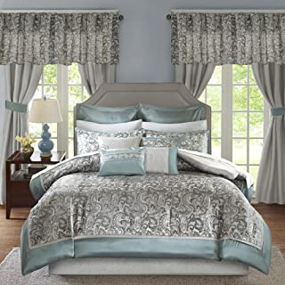 Madison Park Essentials Brystol 24 Piece Room in a Bag Faux Silk Comforter Jacquard Paisley Design Matching Curtains - Down Alternative Hypoallergenic All Season Bedding-Set, Queen, Teal