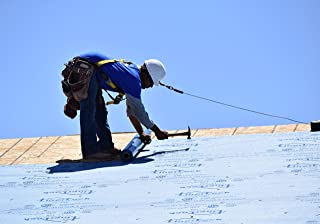 Synthetic Roll Roofing Underlayment 4' x 50' Repair Roll Blue Color Replaces 15# Roofing Felt Liner Lighter Weight and 10x Stronger than Felt, 25 Year Warranty!