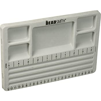 The BeadSmith Travel Bead Design in Beading Board and Gray Flock with Lid, 7.75 by 11.25-Inch