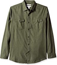 Amazon Essentials Men's Regular-Fit Long-Sleeve Solid Flannel Shirt