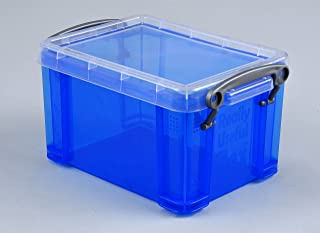 Really Useful Boxes - UB1-6 - Blue Storage Box - Office Suspension Files - Blue with Transparent Lid - 1.6L/2.8pt - 196g/6.9oz - 110 x 95mm/4.3 x 3.7 inches - 200 x 150 x 115 x 140mm/7.9 x 5.9 x 5.5 inches