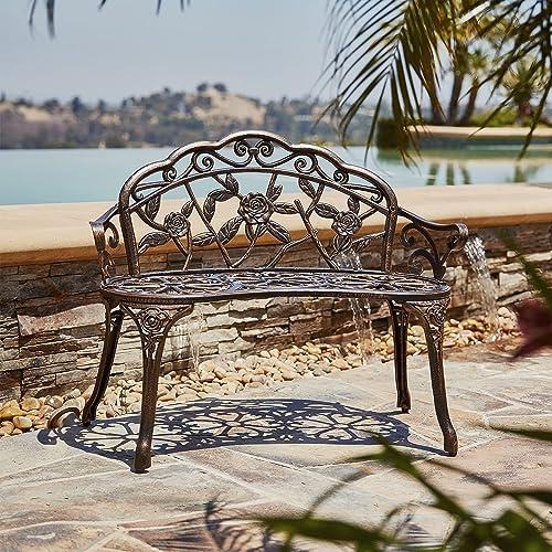 lowest BELLEZE Antique Designed Rose online Style Outdoor discount Patio Park Garden Bench Bronze Love Seat Cast Iron Backyard Porch Home Pool outlet sale