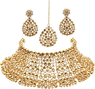 Bindhani Women's Indian Jewelry Heavy Look Bridal Wedding Party Wear Crafted Brides Fashion Gold Plated Kundan Choker Necklace Earrings Tikka Bollywood Style Jewellery Tika Set for Bridemaids