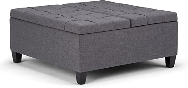 Simpli Home AXCOT 265 SGL Harrison 36 Inch Wide Traditional Square Storage Ottoman In Slate Grey Linen Look Fabric
