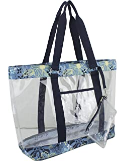 Supreme Deluxe 100% Clear PVC Printed Large Tote with Free Large Wristlet, Blue Floral