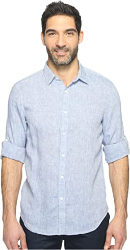 Perry Ellis - Rolled Sleeve Solid Linen Shirt