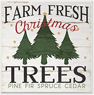 Stupell Industries Farm Fresh Christmas Trees Wall Plaque, 12 x 12, Multi-Color