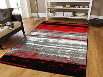 Amazon Com As Quality Rugs Red Abstract Runner Rug 2x8 Hallway Runners With Reds Black Grey White 2 By 7 Kitchen Furniture Decor