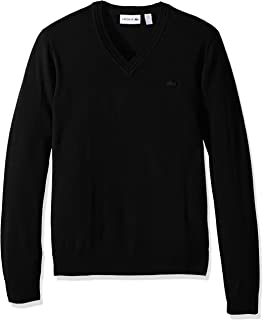 Men's 100% Lambswool V Neck Sweater with Tonal Croc, AH2987-51