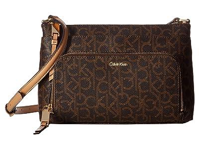 Calvin Klein Key Item Monogram Multi Entry Crossbody (Brown Khaki/Camel) Cross Body Handbags