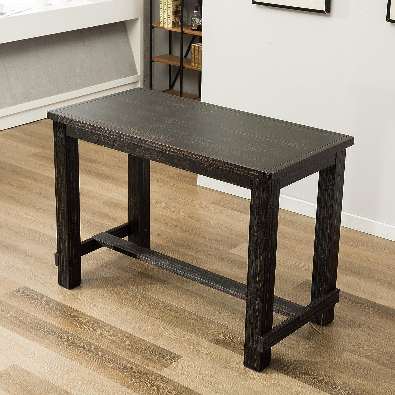Roundhill Furniture Lotusville Antique Rectangular Wood Bar Height Dining Table