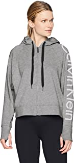 Calvin Klein Women's Centre Zip Hoodie with Logo Sleeve