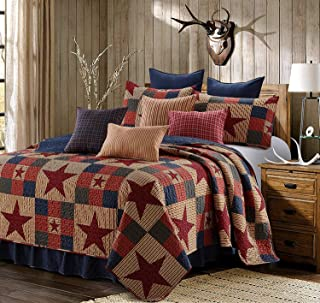 Virah Bella 3 Piece Mountain Cabin Stars Rustic 3 Piece Quilt and Sham Set (Red, King)