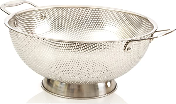 LiveFresh Stainless Steel Micro Perforated 5 Quart Colander Professional Strainer With Heavy Duty Handles And Self Draining Solid Ring Base Dishwasher Safe