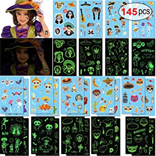 Konsait 145pcs Glow in The Dark Halloween Day of The Dead Sugar Skull Skeleton Temporary Tattoos Halloween Transfers Face Tattoos for Kids Party Bag Fillers Mexican Halloween Party Favors Supplies