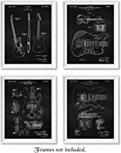 Original Fender Guitar Patent Poster Prints, Set of 4 (8x10) Unframed Photos, Wall Art Decor Gifts Under 20 for Home, Office, Man Cave, Teacher, Musician, College Student, Band, Rock & Roll Fan
