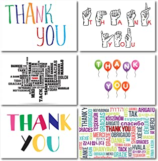 36 Thank You Cards with Envelopes | Handwriting Fonts Balloons Colorful Sign Language Thank U in Many Languages Many Fonts Text| 6 Designs 4x6 inches Weddings, Birthdays, Holidays, Parties, Business