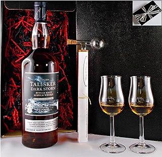 Geschenk Talisker Dark Storm Single Mlat Whisky 1 Liter  Glaskugelportionierer  2 Bugatti Gläser