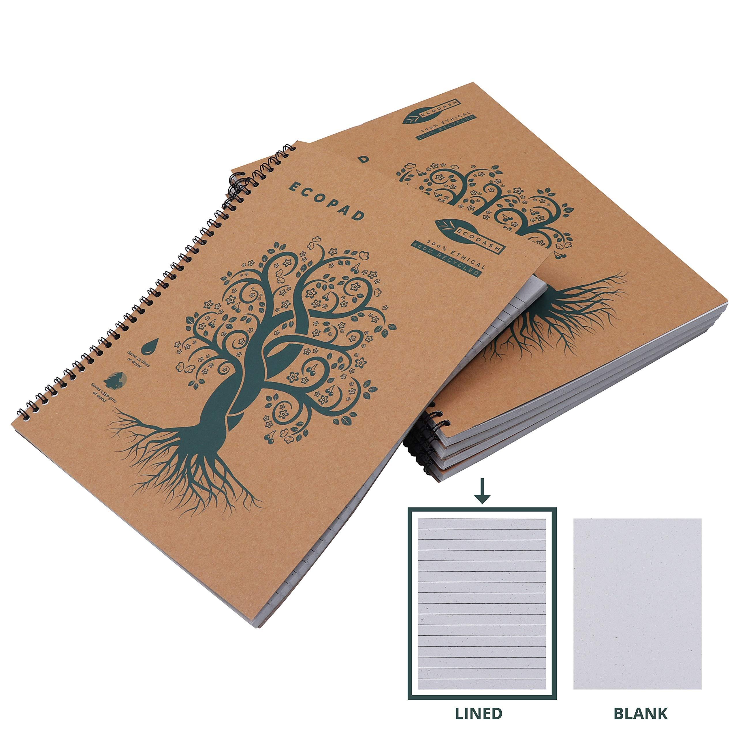 Cuaderno Espiral (Pack de 5) - A4 Cuaderno Papel Reciclado 60GSM ...
