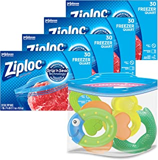Ziploc Quart Food Storage Freezer Bags, Grip 'n Seal Technology for Open and Close, 30 Count, Pack of 4