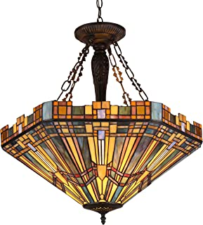 Chloe Lighting CH36432MS24-UH3 Tiffany Saxon, Tiffany-Style 3 Light Mission Inverted Ceiling Pendant Fixture 24