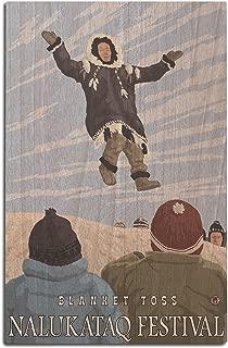 Lantern Press Alaska Blanket Toss - Nalukataq Festival, Alaska (12x18 Wood Wall Sign, Wall Decor Ready to Hang)