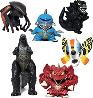 EZFun Set of 6 Godzilla Toys with Carry Bag, Movable Joint Action Figures Chibi 2019, King of The Monsters Mini Dinosaur Destoroyah Gigan MUTO Mothra Movie Kid Birthday Cake Toppers Pack